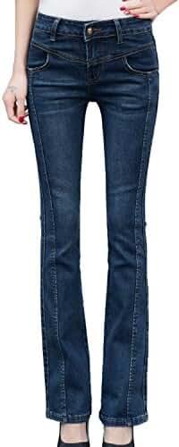 Chickle Women's Cotton Classic Fit Midrise Boot Cut Denim Jeans