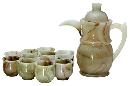 RADICALn Handmade Turkish Style Marble Green Onyx Full Tea Cup Set - Comes with 12 Tea Cups and 1 Pot