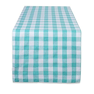 """DII 100% Cotton, Machine Washable, Dinner, Everyday Use Table Runner, 14x72"""" , Aqua & White Check - 14X72"""" RUNNER - Tablerunner is long enough for most surfaces and makes a great centerpeice for your dinner party. PROTECT YOUR TABLE - Keep your surfaces protected from scratches and spills by using a tablecloth or table runner that allow a surface to place hot dishes. EASY CARE - Tablerunners are 100% cotton and machine washable; use low iron if needed. - table-runners, kitchen-dining-room-table-linens, kitchen-dining-room - 41c0IIvvfML. SS400  -"""