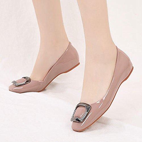 T-july Femmes Boucle Slip Sur Mocassins Casual Chaussures À Bout Carré Chaussures Mocassins Confort Bateau Robe Chaussures Rose