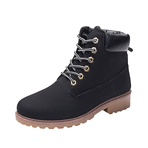 (Womens Winter Snow Boots,Sunyastor Fur Warm Outdoor Water Resistant Slip On Casual Walk Round Toe Ankle Shoes Lace Up Boots)