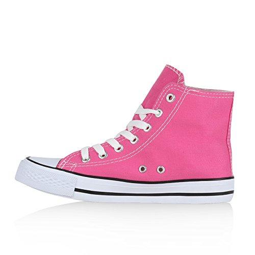Zapatillas Mujer blanco rosa Stiefelparadies y altas 6Rq1S6