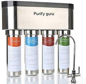 Purificar gurú acero inoxidable Smart sistema de ósmosis inversa filtro de agua potable, calentador 400 GPD: Amazon.es: Bricolaje y herramientas