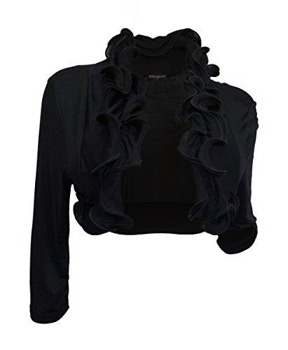 eVogues Plus size Cropped Ruffled Shawl Shrug Bolero Black - -