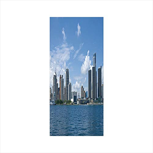 (Decorative Window Film,No Glue Frosted Privacy Film,Stained Glass Door Film,Downtown Detroit GM Renaissance Center Ford Auditorium Shoreline,for Home & Office,23.6In. by 47.2In Light Blue White Grey)
