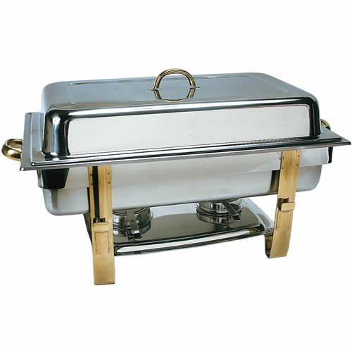 (DC-6N) 8 Qt Stainless Steel Oblong Gold-Accented Chafer (Gold Accented Chafer)