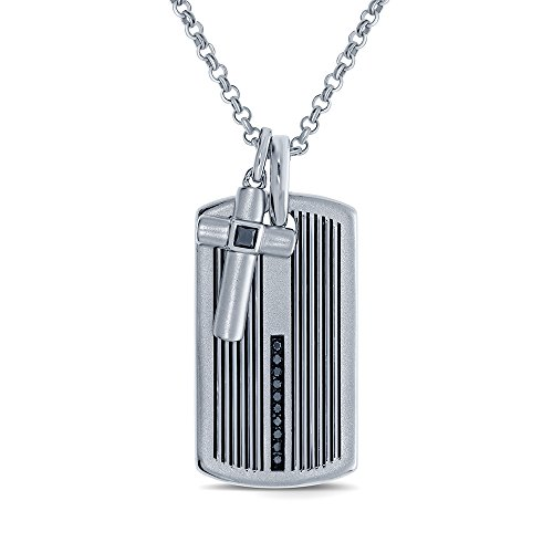 1/4 ct Round Black Diamond Sterling Silver Mens Dog tag Cross Diamond Pendant Necklace Fathers Day Jewelry Gift for Adults Teens Boys Women ()