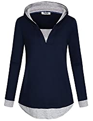 Hibelle Warm Up Hoody Cool Hoodies For Women V Neck Full Sleeve Polyester Loose Fit Faux Twinset Sweater Jumper Pullovers Career Office Elegant Top Round Buttom Sweatshirt Navy Blue Xl