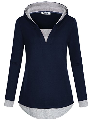 Hibelle Warm Up Hoody, Cool Hoodies for Women V Neck Full Sleeve Polyester Loose Fit Faux Twinset Sweater Jumper Pullovers Career Office Elegant Top Round Buttom Sweatshirt Navy Blue XL