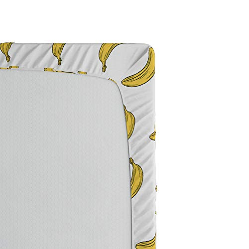 Ambesonne Vegan Fitted Sheet, Doodle Style Illustration of Bananas Symmetrically Aligned Exotic Fruit Pattern, Soft Decorative Fabric Bedding All-Round Elastic Pocket, Queen Size, Yellow White