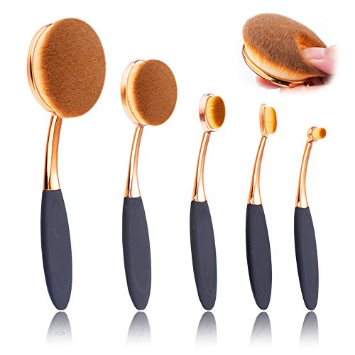 Oval Makeup Brush Set of 5 Pcs Professional Oval Toothbrush Foundation Contour Concealer Eyeliner Blending Cosmetic Brushes Tool Set by Beauty Kate (Rose Gold Black)
