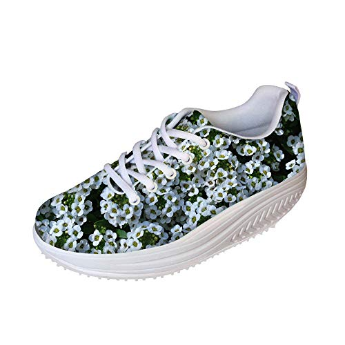 FOR U DESIGNS Stylish Green Floral Style Women's Platform Lace Up Fitness Fashion Sneakers US 9