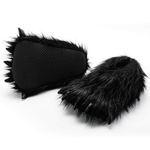 (HollyHOME Claws Shoes Plush Slippers Plush Bear Paw Slippers Animal House Slippers 12 inches Black)