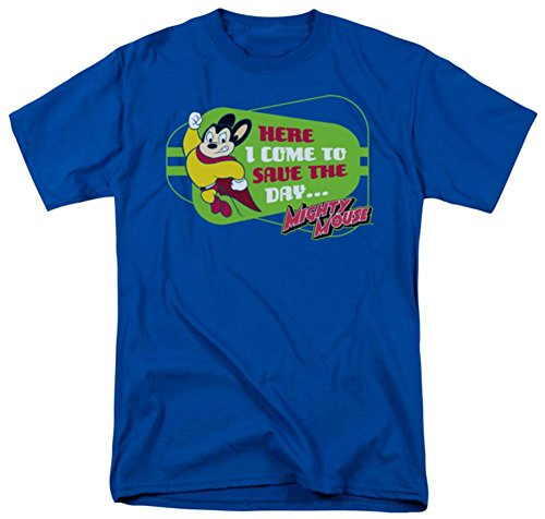 """""""Here I Come To Save The Day..."""" -- Mighty Mouse Adult T-Shirt, XX-Large"""