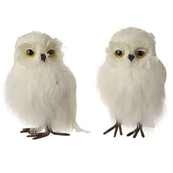 """RAZ Imports - White Feathered Christmas Owls 5"""" Tree Mantle  Centerpiece Decoration - Amazon.com: RAZ Imports - White Feathered Christmas Owls 5"""