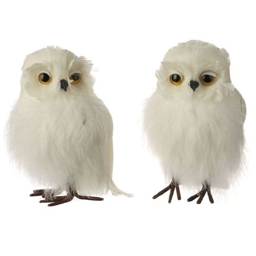 amazoncom raz imports white feathered christmas owls 5 tree mantle centerpiece decoration health personal care