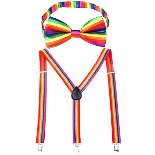 Womens Suspender Bow Tie Set Y Shape Adjustable Rainbow Checker Flag Black