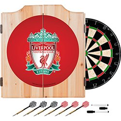 Premier League Liverpool Football (Soccer) Club Design Deluxe Solid Wood Cabinet Complete Dart Set by TMG