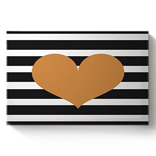 Canvas Ready to Hang for Home Wall Decor 3D Magic Mysterious Gold Heart Black and White Stripe Pattern Art Oil Painting 12x20inch ()