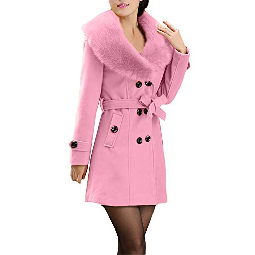 Colmkley Women Overcoat Jacket Double-Breasted Slim Solid Lapel Trench Coat Tops