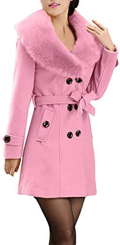 ZOMUSAR Women's Coat Double-Breasted Outerwear Winter Warm Long Sleeve Wool Lapel Trench Jacket with Belt