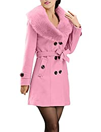 Jacket Womens Winter Lapel Wool Coat Trench Jacket Long Sleeve Overcoat Outwear