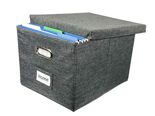 Viluh Decorative File Box with Lid | Collapsible Storage Organizer | Linen Filing & Office Bin | Letter/Legal | Hanging Folders | Important Document Container | Charcoal Gray | (1 Pack)