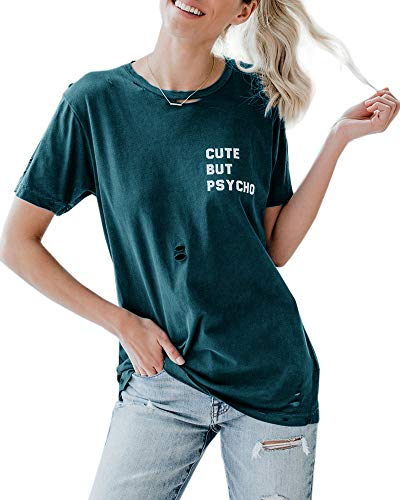 Cute But Psycho Womens Distressed Tee Graphic Letter Print Short Sleeve Ripped T-Shirt Tops Green