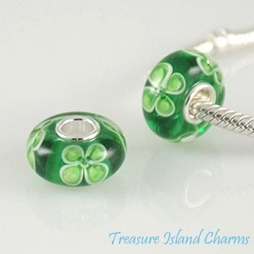 Green Four-Leaf Clover Shamrock Glass .925 Sterling Silver European Bead Charm Ideal Gifts, Pendant, Charms, DIY Crafting, Gift Set from Heart by Wholesale Charms