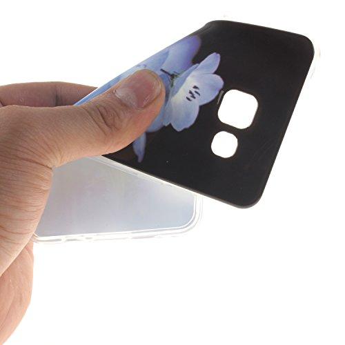 Etsue Caso para Samsung Galaxy A5(2016),Funda de silicona TPU Negro patrón de la caja ultrafina para Samsung Galaxy A5(2016),Suave diáfano de colores patrón para Samsung Galaxy A5(2016) + Gratis 1 x B flor azul