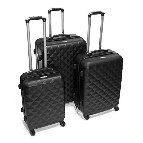 ALEKO LG52BK ABS Luggage Suitcase Set for Travel with Combo Lock, 3 Piece, Diamond Pattern, Black by ALEKO