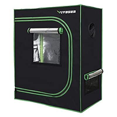 VIVOSUN Mylar Hydroponic Grow Tent with Observation Window and Floor Tray for Indoor PlantGrowing 4x2',5x5',3x3',3x2',3x1.6'
