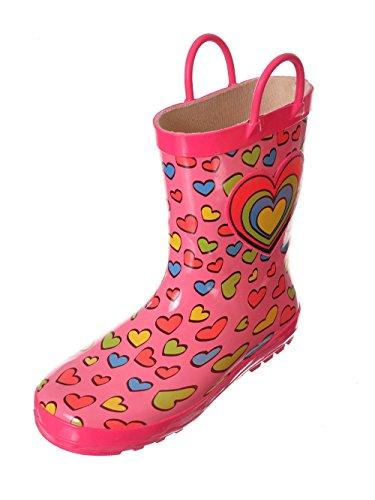 lilly Girls'Rainbow Heart Rain Boots - Pink, 5