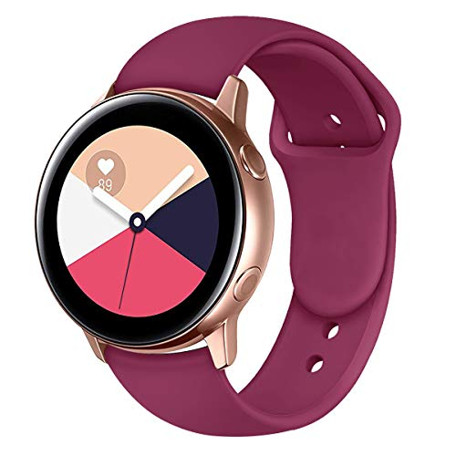 Band for Galaxy Watch Active Bands Garmin Vivoactive 3 Band,20mm Silicone Replacement Sport Strap Band Compatible for Samsung Galaxy Watch 42mm Band (Burgundy, Small) (Use Gear)