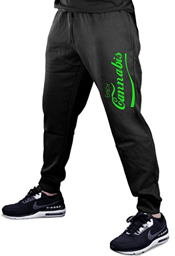 Green Enjoy Cannabis V364 Men's Black Fleece Gym Jogger Sweatpants 2X-Large Black