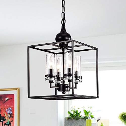 Warehouse of Tiffany Black 4-Light Pendant with Clear Glass Shade RL8301BL-4L