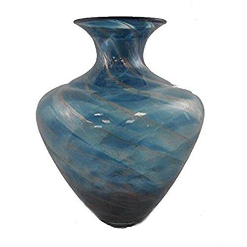 Manhattan Chic Artisan Ink Blue with Gold Glass Vase Decorative Centerpiece