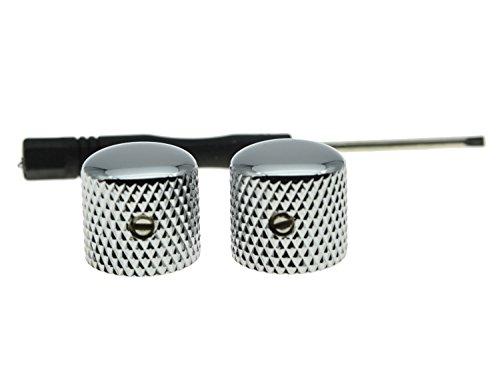 KAISH Set of 2 Quality Chrome Metal Tele Telecaster Guitar Dome Knobs Bass Knob with Set Screw