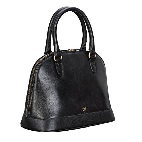 Maxwell Scott® Elegante bolso de mano en cuero Italiano para mujer color negro (Rosa) Negro