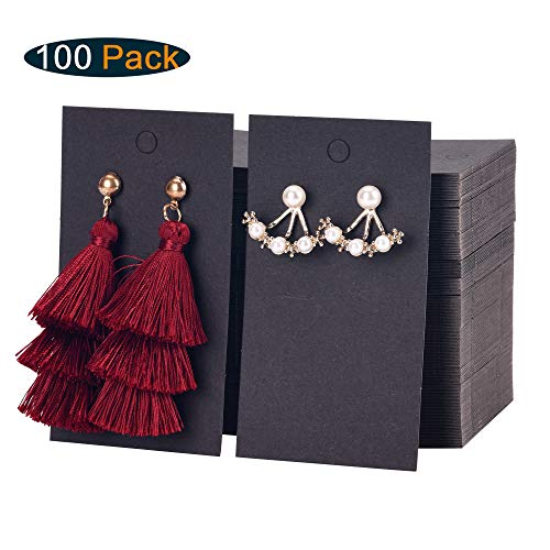 (Xpurc 100PCS Earring Display Cards with 5 PCS Drawstring Bags for Jewelry, Earrings, Ear Studs Holder Blank Kraft Paper Tags for DIY, 3-1/2'' x 2''(Black))