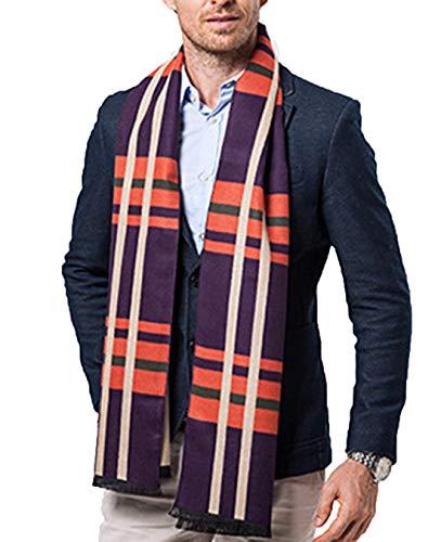 (Men Business Cashmere Long Scarf Autumn Winter Warm Plaid Neck Wrap Shawl (Purple Plaid))