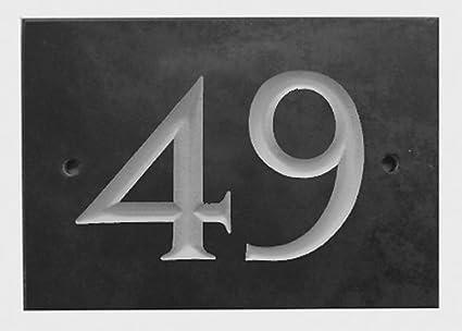 Amazon.com: Número de casa de pizarra negra 1-99 (número 49 ...