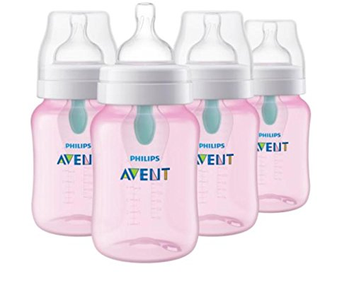 Philips Avent Anti-colic Baby Bottle with AirFree vent 9oz 4pk Pink, SCF404/44