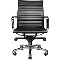 WOBI OFFICE Robin Lowback Chair, Black Leather