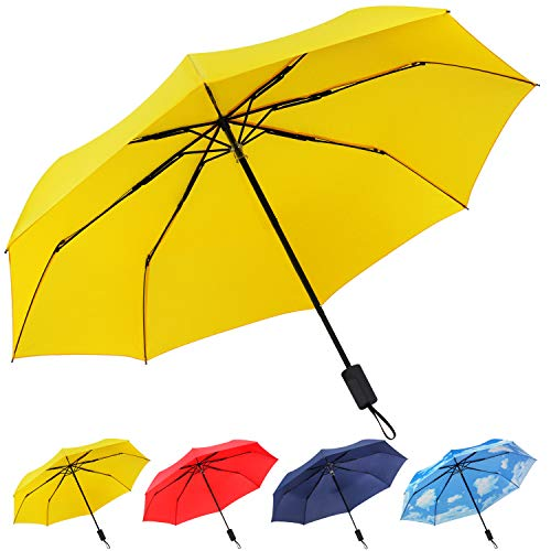 Travel Folding Compact Umbrella Windproof, UV Protection and Lightweight Umbrella for Women Men and Kids,Yellow