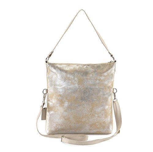 HYDESTYLE Lb31 - Bolso mochila de Piel para mujer Beige