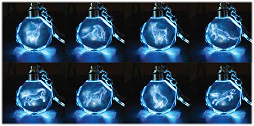 Harry Potter Patronus Collectible Key Chain Mystery Blind Box - Receive 1 of 8 Crystal Patronus Key Rings with LED Blue Light - Collect All 8 - Series 1