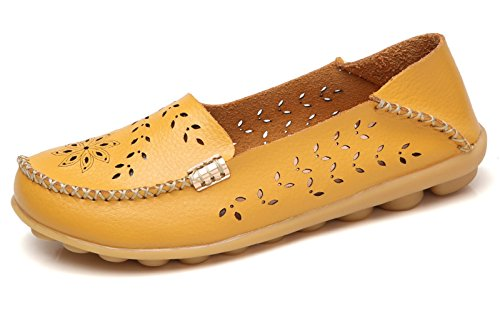 VenusCelia Women's Breathable Natural Walking Flat Loafer Yellow