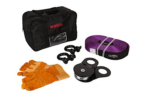 X-BULL Recovery Winch Kit (7PCS) Rigging kit including Gear Bag, Snatch Block Pulley, Recovery Strap,D Rings Leather Gloves