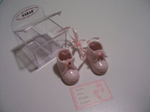 Personalized Porcelain Baby Booties - Girl - Rachel